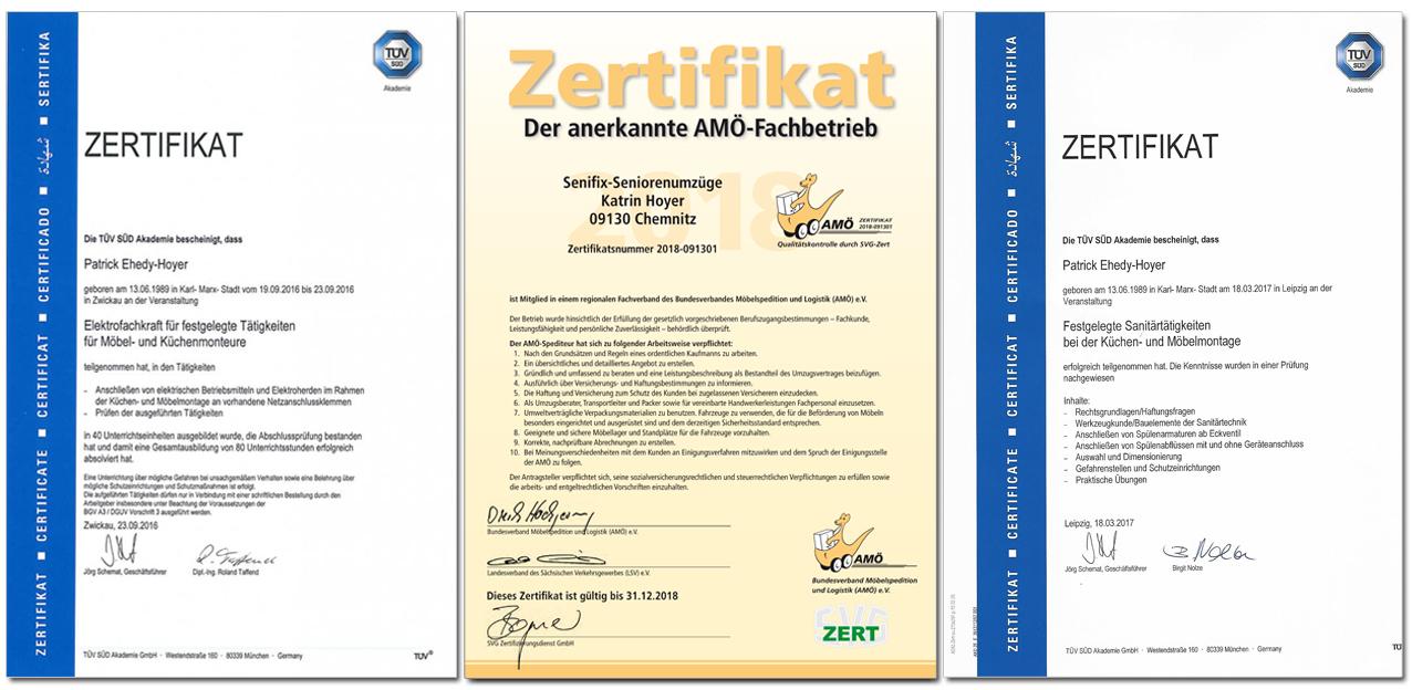 Zertifikate von Senifix Umzug Chemnitz Zwickau